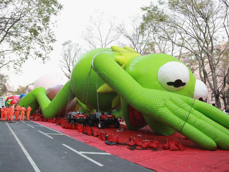 Kermit the Frog is inflated at the 86th Annual Macy's Thanksgiving Day Parade's