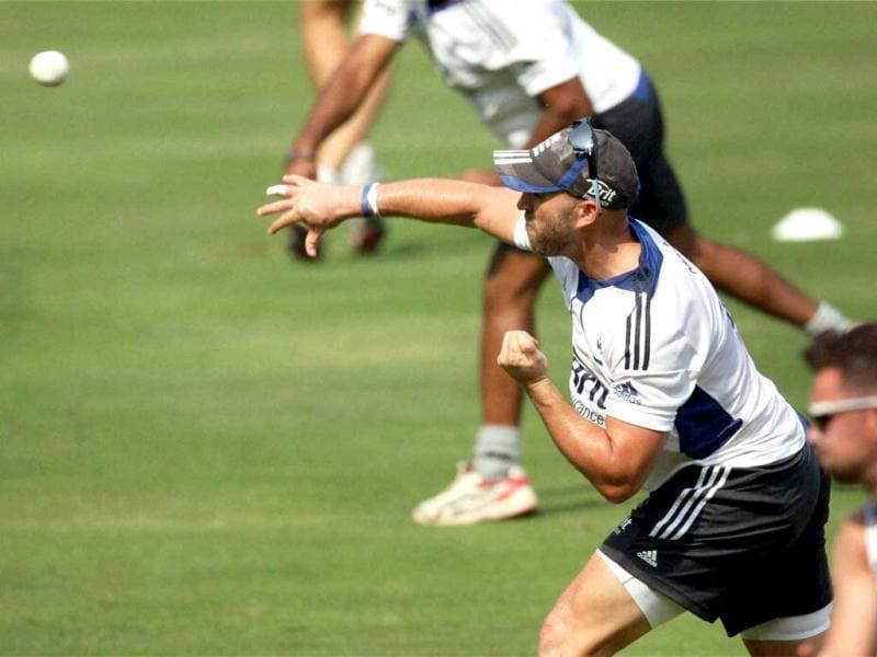 Matt Prior during a practice session at Wankhade Stadium in Mumbai. India will play against England in second Test commencing in Mumbai. PTI
