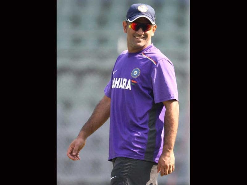 Skipper MS Dhoni during a practice session at Wankhade Stadium in Mumbai. PTI