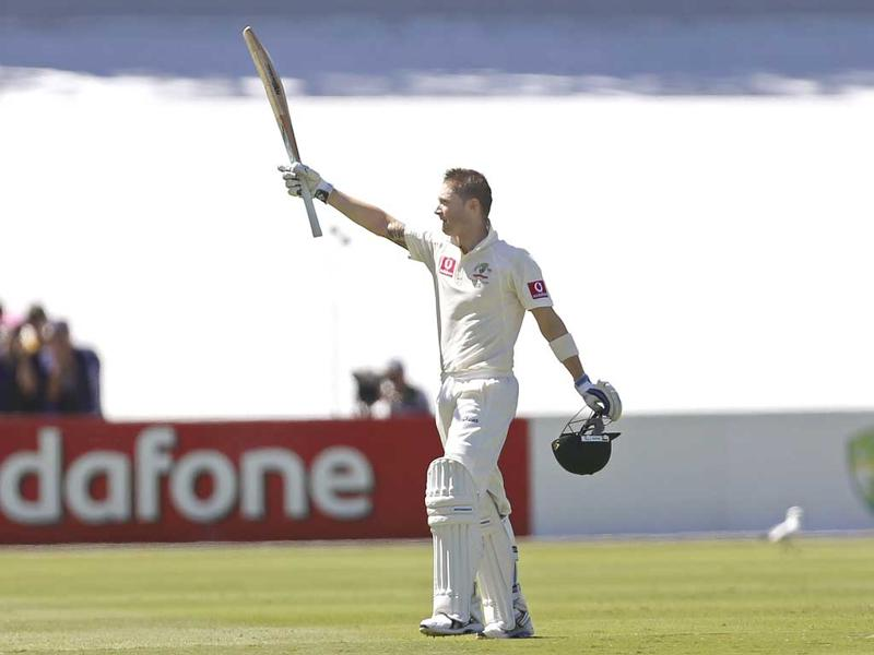 Australia's captain Michael Clarke celebrates reaching a century during their second cricket test match against South Africa at the Adelaide cricket ground. Reuters photo