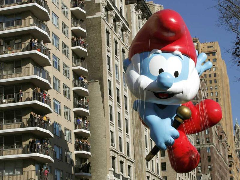The Smurfs balloon floats down Central Park West during the 86th Macy's Thanksgiving Day Parade in New York. Reuters/Gary Hershorn