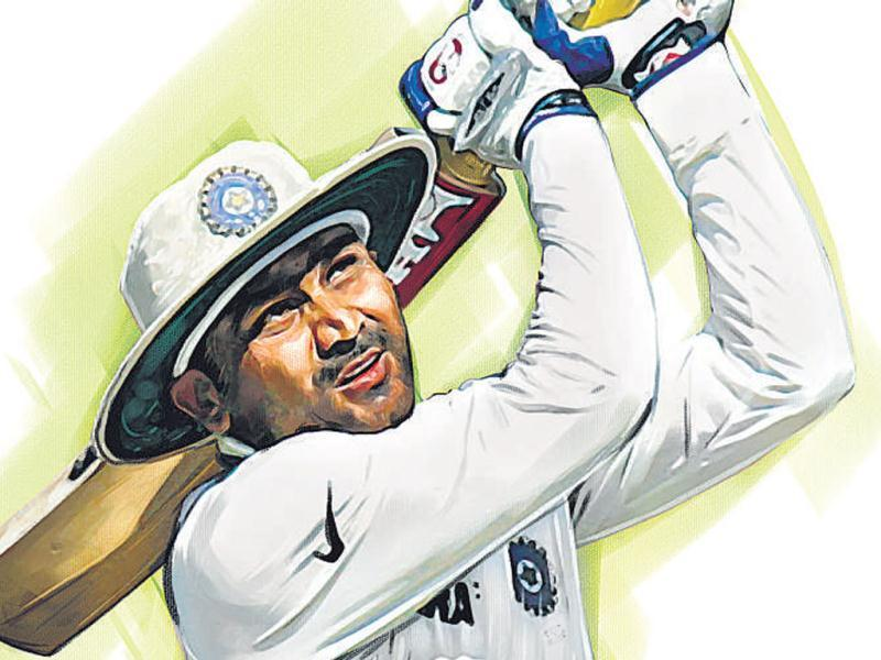 Virender Sehwag will join the elite 100-Test club when he walks out to the middle at the Wankhede. Illustration by Shrikrishna Patkar.