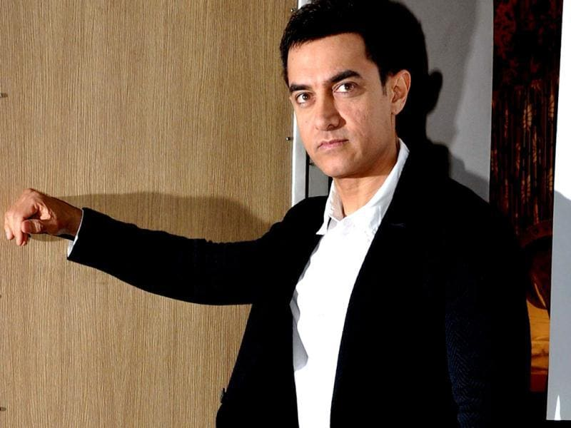 Aamir Khan caught in his thought process.