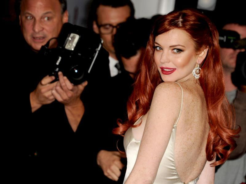 Look back in style! Lindsay Lohan at the premiere of her upcoming TV film Liz & Dick.