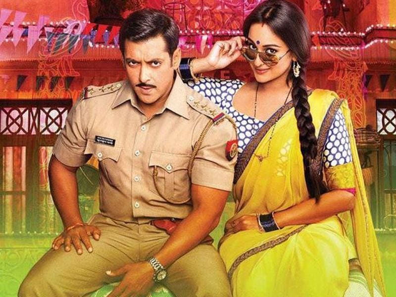 Salman Khan and Sonakshi Sinha in a movie still from Dabangg 2.