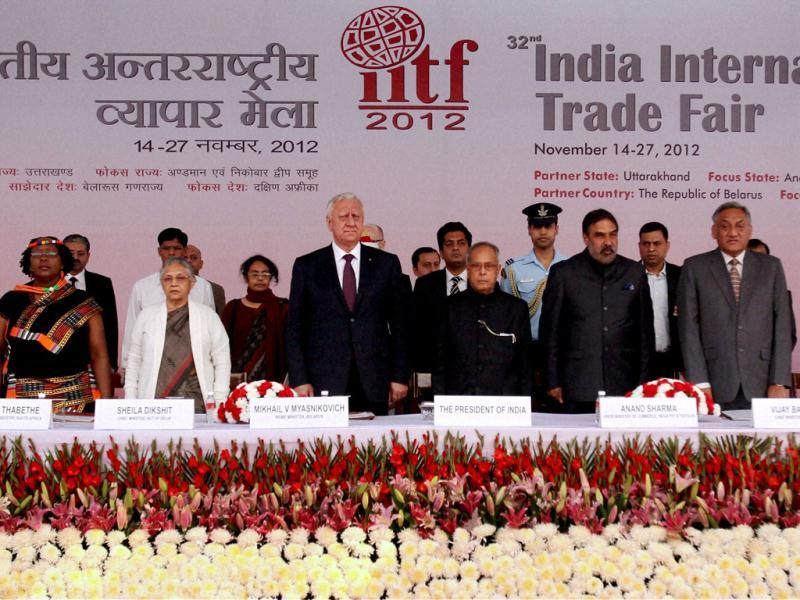 President Pranab Mukherjee along with Prime Minister of Belarus Mikhail Myasnikovich, Union minister for Commerce Anand Sharma, Delhi CM Sheila Dikshit, and others during the inauguration of 32nd India International Trade Fair (ITTF) at Pragati Maidan in New Delhi. (PTI Photo)