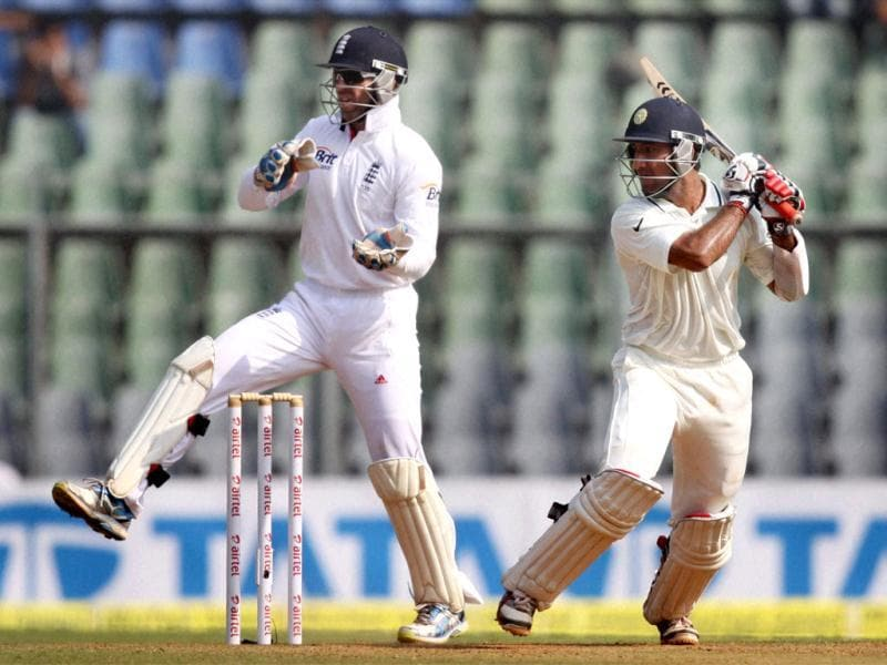 Cheteshwar Pujara in action during Day 2 of second India-England test match at Wankhade Stadium in Mumbai. PTI