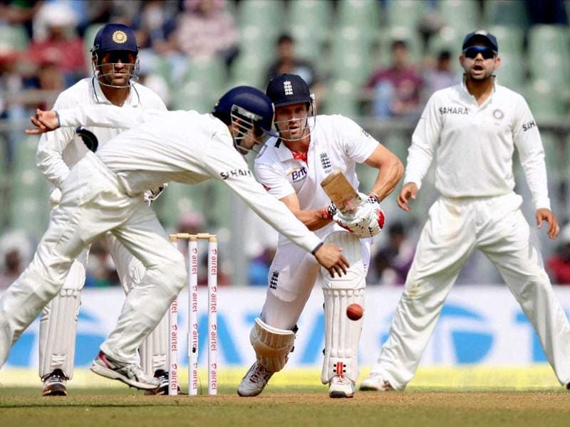 England's Nick Compton plays a shot during Day 2 of second India-England test match at Wankhade Stadium in Mumbai. PTI