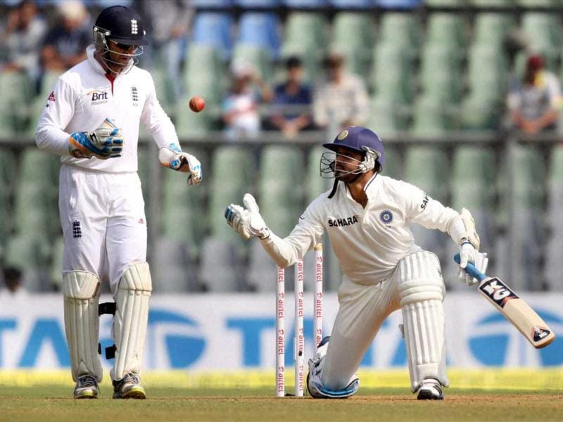 Harbhajan Singh in action during Day 2 of second India-England test match at Wankhade Stadium in Mumbai. PTI