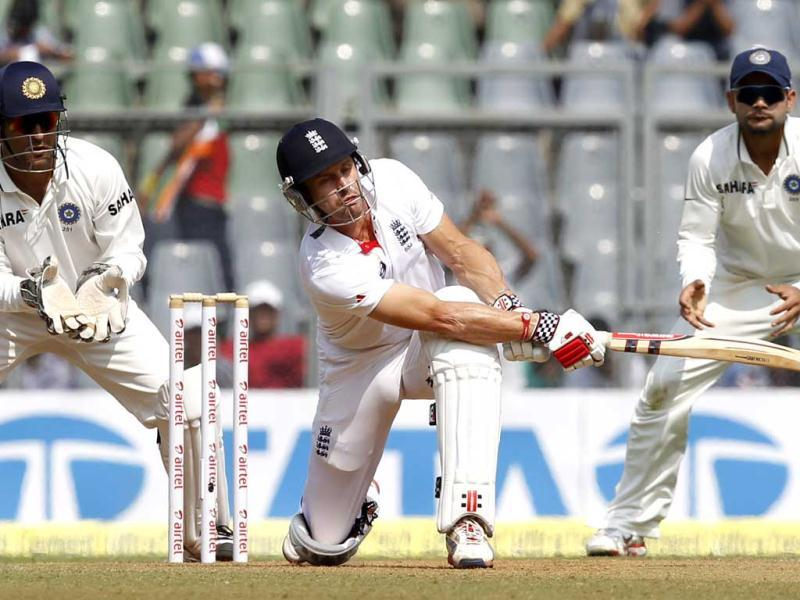 England's batsman Nick Compton plays a shot during 2nd day of 2nd test cricket match between India vs England at Wankhede stadium, in Mumbai. Hindustan Times