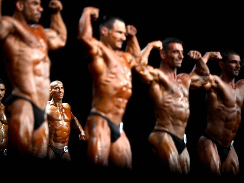 Competitors take part in the World Classic Bodybuilding championship in Sofia. (AFP Photo)