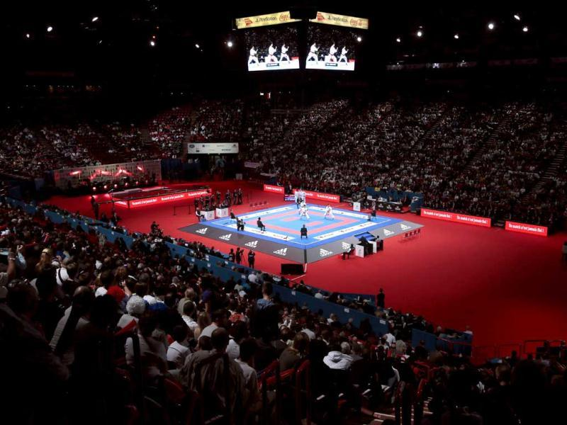 A general view shows the POPB stadium in Paris during the men's team kata event at the Karate world championships. AFP Photo