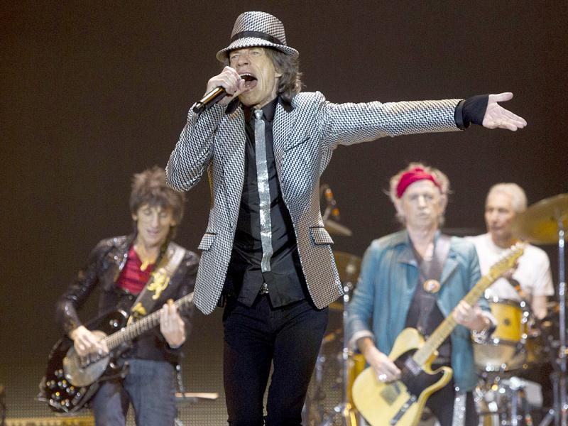 Mick Jagger, Ronnie Wood (L) with Keith Richards and Charlie Watts (R) of The Rolling Stones perform at the O2 arena in east London. AP Photo