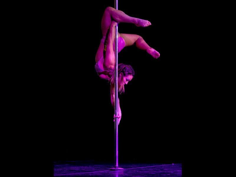 Brazilian pole dancer Rafaela Montanaro competes in the Miss Pole Dance South America 2012 competition in Buenos Aires. (AFP Photo)