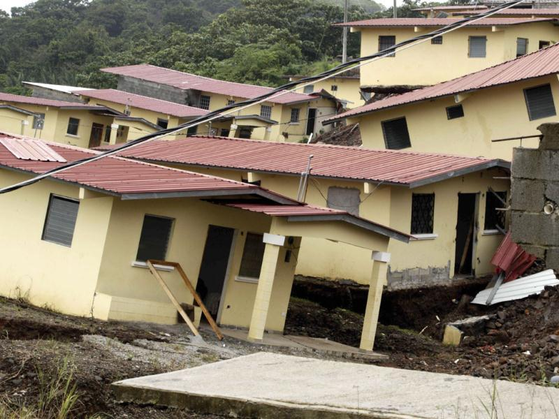 Arnulfo Franco Homes that were destroyed by heavy rain stand in the Nuevo Arco Iris neighborhood of Colon, Panama. AP Photo