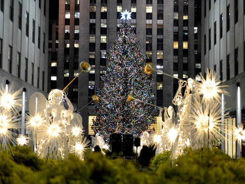 The Rockefeller Center Christmas Tree is lit in New York. AFP