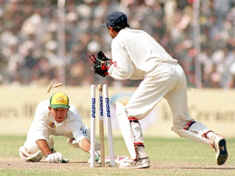 Ponting highest Test score was against India - 257 at Melbourne on December 26, 2003. In this photo, Ponting manages a last second attempt to find his crease before being ruled run out in New Delhi. (AFP Photo)
