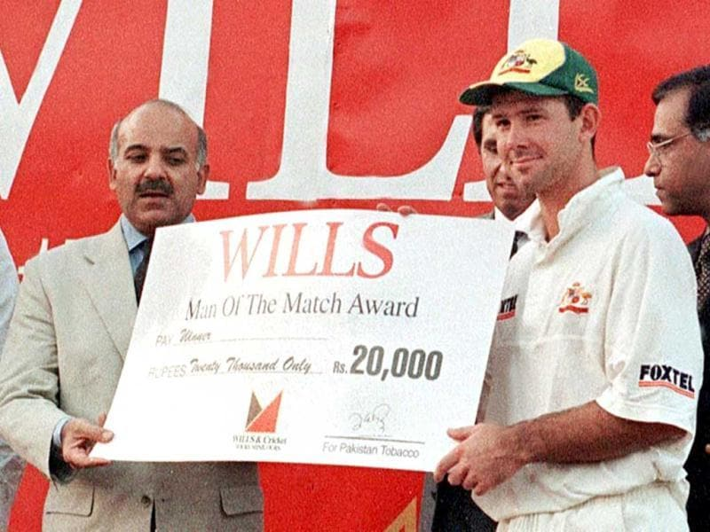 Ponting has taken five wickets and 196 catches in his Test career. In this file photo, Ponting receives the Man of the Match award from chief minister of Pakistan's Punjab province Shahbaz Sharif in Lahore. (AFP Photo)