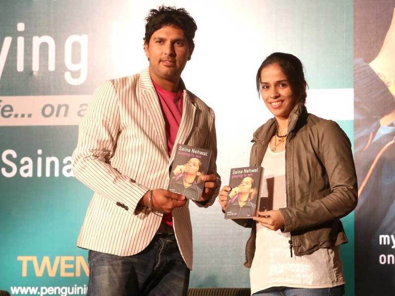An exctatic Saina on her book launch talked about the book Playing to Win being a story about her journey to become a champion in New Delhi on November 28.
