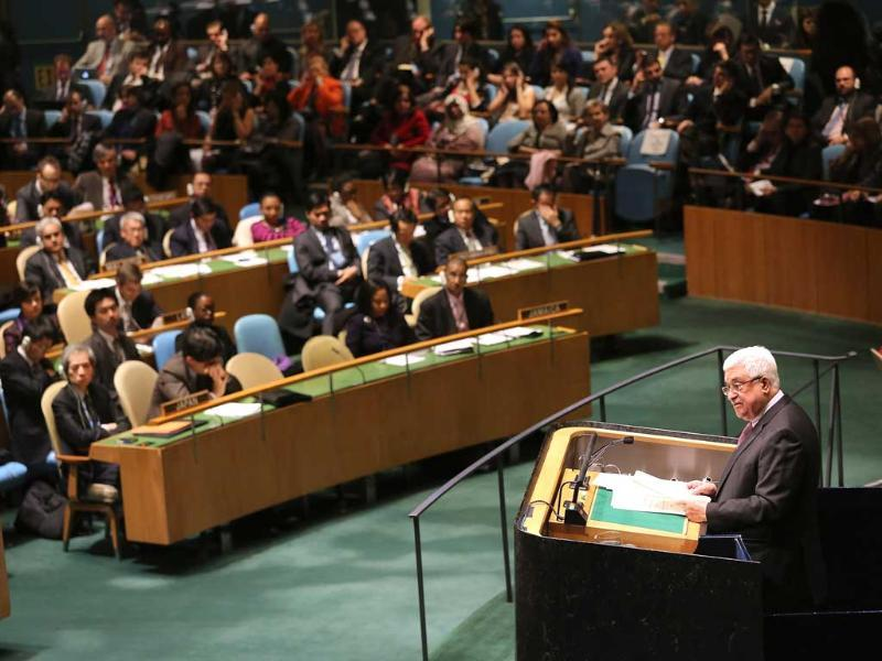 Palestinian President Mahmoud Abbas addresses the UN General Assembly before a vote on Palestinian non-member observer status in New York City. AFP