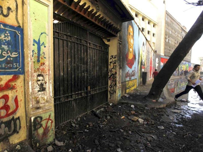 A graffiti-covered wall is pictured at Mohamed Mahmoud street in Cairo. Reuters/Amr Abdallah Dalsh