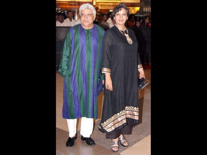 Javed Akhtar with wife Shabana Azmi poses at the event. (Photo/Yogen Shah)