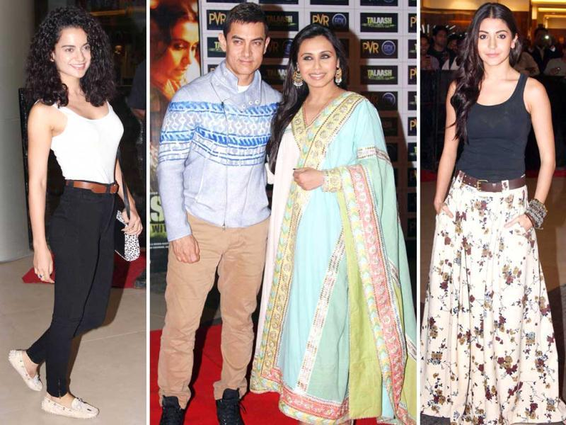 Bollywood celebrities were in full attendance as they attended Aamir Khan starrer Talaash's premiere in Mumbai on November 29. Check out who all came!(Photo/Yogen Shah)