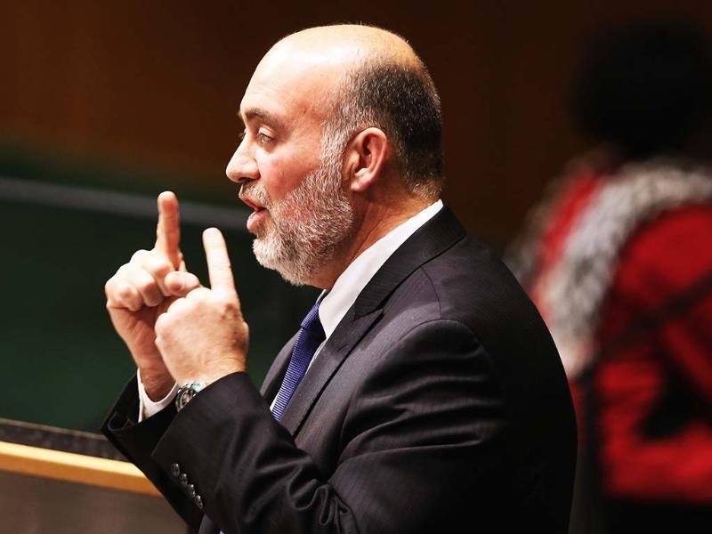 Israeli United Nations Ambassador Ron Prosor speaks at a meeting of the General Assembly in New York City. Israel, the United States, Canada and a handful of others voted against today's historic resolution granting non-member observer status to Palestinians. AFP