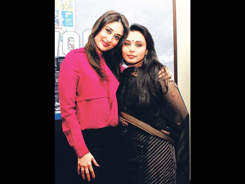 Ladies from Talaash- Rani Mukerji and Kareena Kapoor- stopped by at HT Cafe, Mumbai to promote their crime-thriller Talaash. (Photo: Saroj Kumar Dora, Prodip Guha)