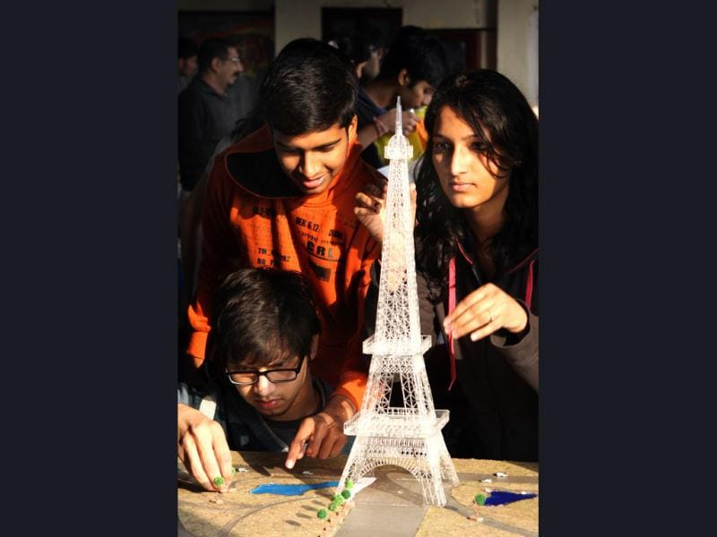 The students of School of Planning and Architecture making the miniature replicas of famous monuments so that visually inpaired people can also experience them. HT/Sushil Kumar