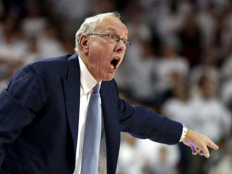Head Coach Jim Boeheim of the Syracuse Orangemen yells at his team during a game against the Arkansas Razorbacks at Bud Walton Arena in Fayetteville, Arkansas. AFP