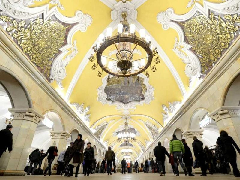 A general view of Komsomolskaya metro station of the Koltsevaya Line in Moscow subway. The station was opened in 1952. AFP