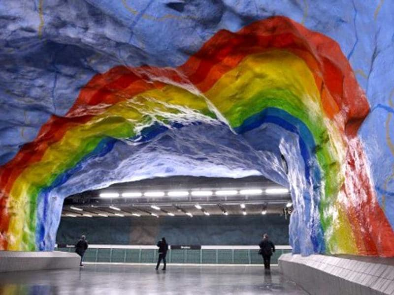 People walk at the T-Centralen subway station in Stockholm. AFP