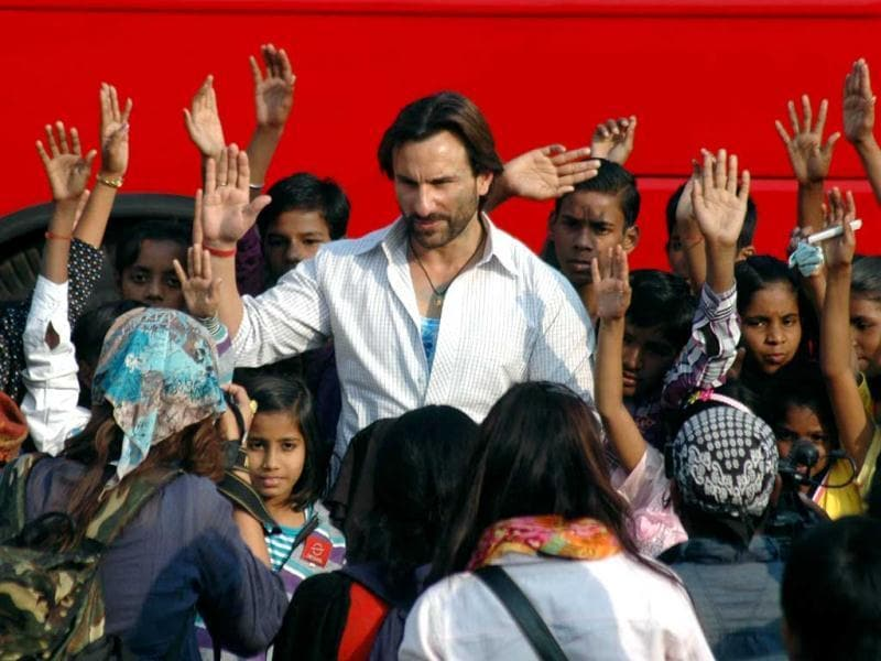 Saif Ali Khan seems to be back to work post wedding. The actor was recently spotted shooting for his upcoming film Bullet Raja and interacting with fans in Lucknow on November 30. (UNI Photo)