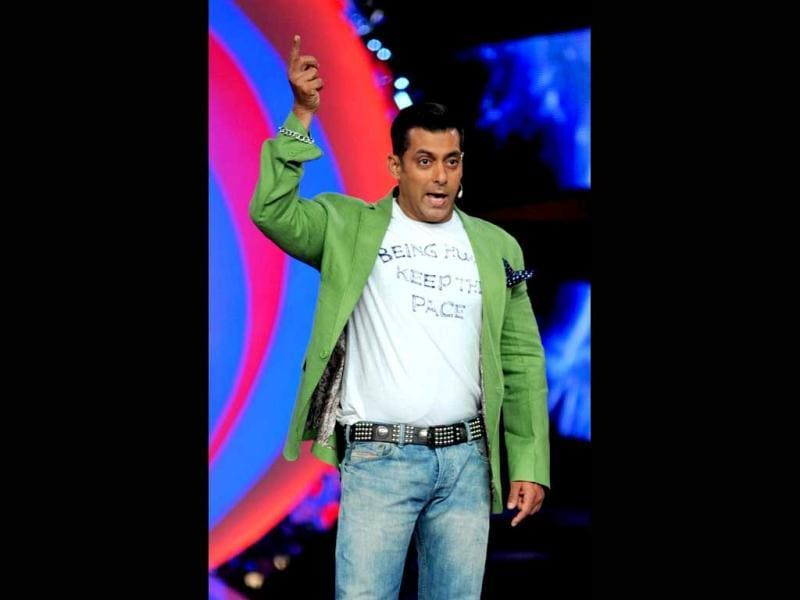 Salman Khan was once again seen in his signature Being Human t-shirts, topped with a pista-green jacket on Bigg Boss.