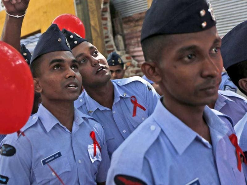 Sri Lankan Air Force Airmen participate in an event organized to mark World AIDS Day in Colombo, Sri Lanka. AP Photo