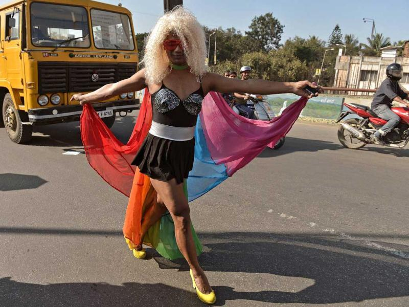 Members of the LGBT (Lesbian, Gay, Bi-sexual and Transgender) community take part in the Bangalore Queer Pride Parade 2012. The march marks the end of the annual 10-day Bengaluru Pride and Karnataka Queer Habba 2012. AFP Photo