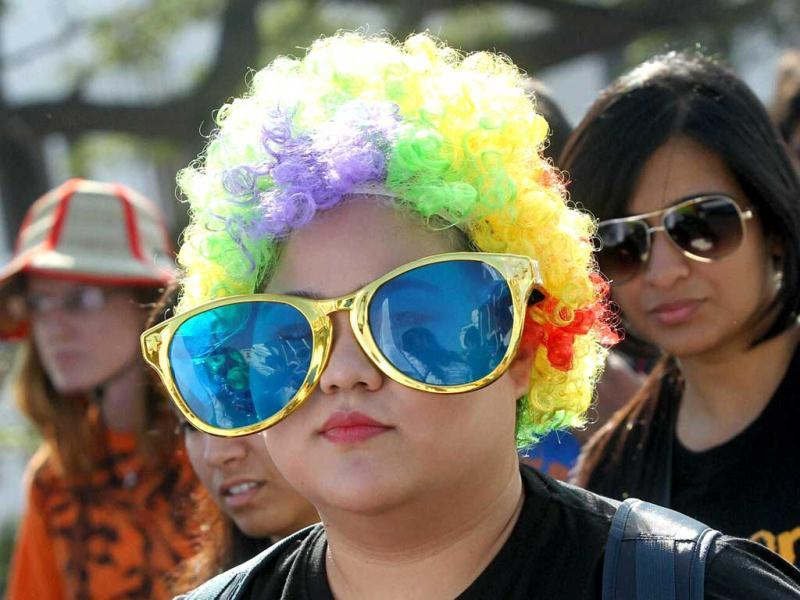 LGBT community people during a Bangalore pride and Karnataka Queer Habba 2012 rally in Bengaluru. PTI Photo