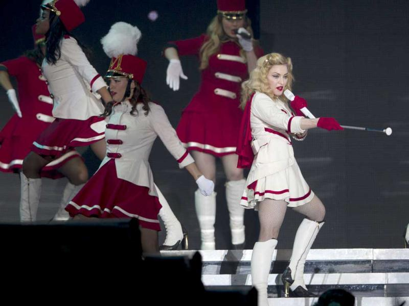 Madonna performs during her MDNA World Tour in Rio de Janeiro, Brazil. The 54-year old Queen of Pop will also perform in Argentina and Chile. (AP Photo)