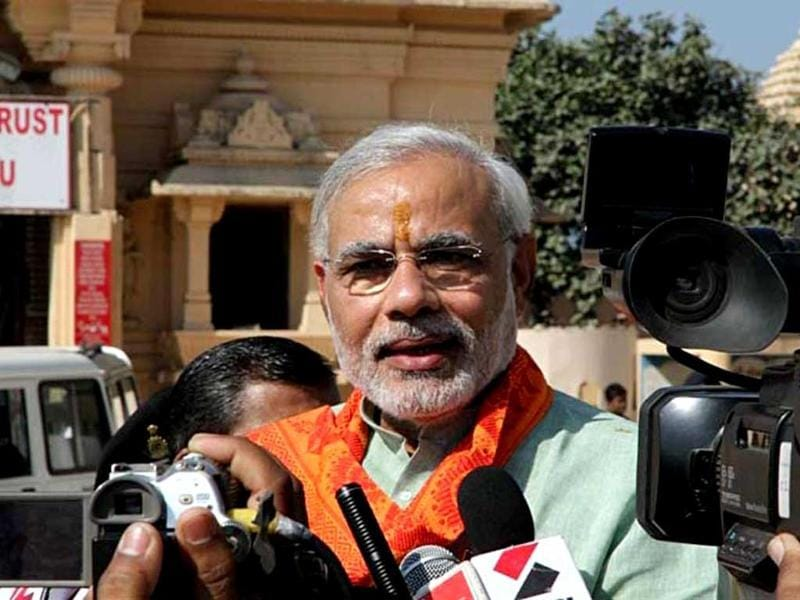 Gujarat chief minister Narendra Modi interacts with the media in Veraval, Gujarat. HT