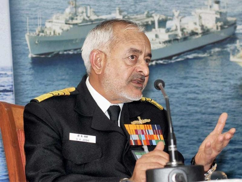 Navy Chief Admiral DK Joshi addresses a press conference in New Delhi on Monday. PTI Photo