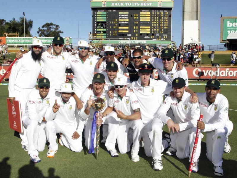 South Africa's cricketers celebrate after winning the third test match against Australia in Perth, Australia. South Africa won the match by 309 runs and the series 1-0. AP Photo