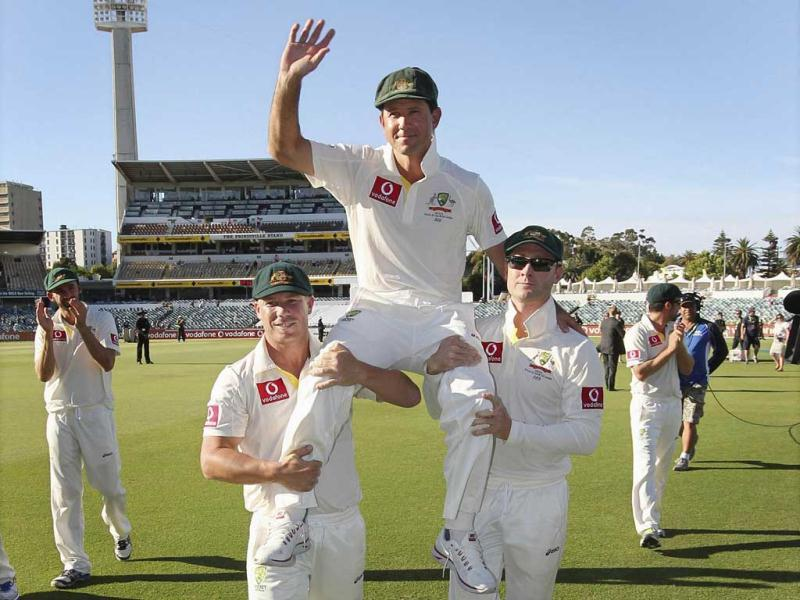 Australia's Ricky Ponting is carried off the WACA in Perth by team mates David Warner (L) and captain Michael Clarke after the third test cricket match. Ponting, the 37-year-old former Australia captain, celebrated the end of his test career with his 168th match. Reuters Photo