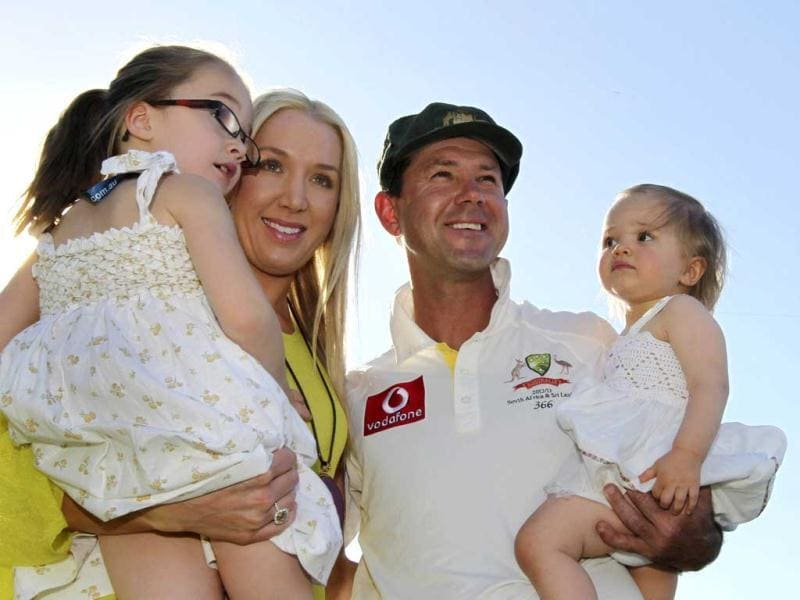 Australia's Ricky Ponting poses with his wife Rianna and daughters Emmy (L) and Matisse (R) at the WACA in Perth after the third test cricket match. Reuters Photo