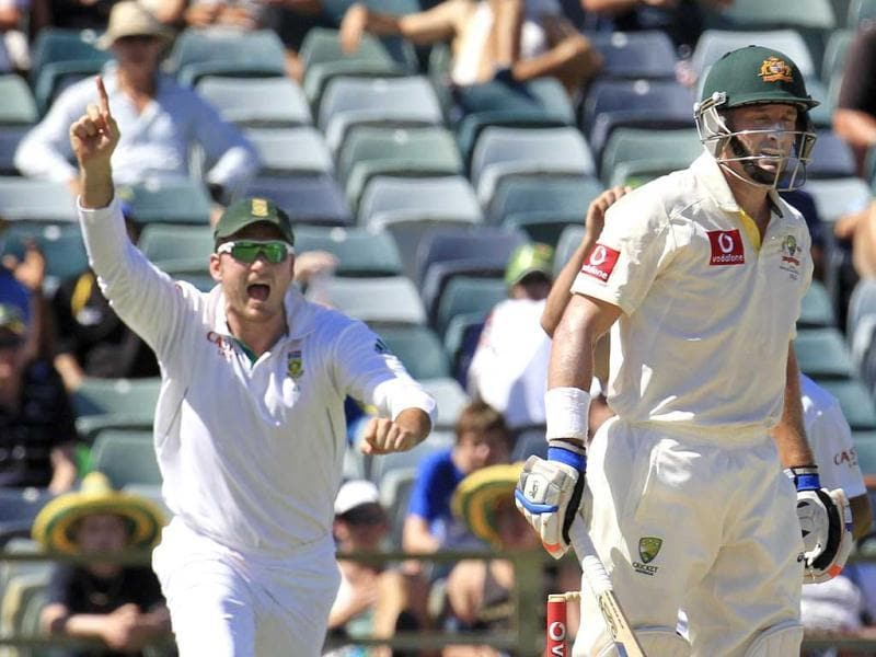 South Africa's captain Graeme Smith appeals as Australia's Mike Hussey is dismissed at the WACA during the fourth day's play of the third test cricket match in Perth. Reuters Photo