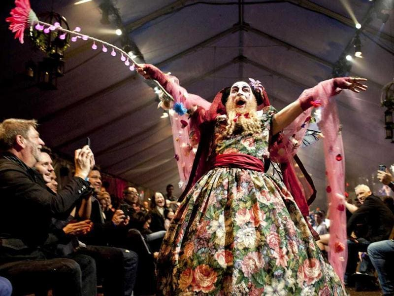 Sister Lilith of the Valley takes part in a charity fashion show where designers are paired with Sisters to create fashions from recycled materials in San Francisco. Reuters Photo