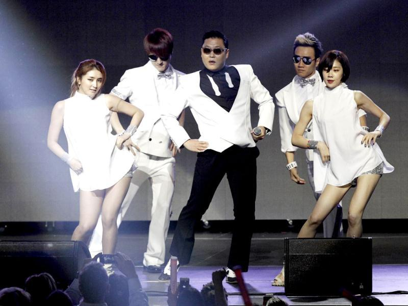 South Korean rap sensation Psy, who has become a household name after 'Gangnam Style', enthralls the crowd during the second night of KIIS FM's Jingle Ball at Nokia Theatre LA in Los Angeles. (Reuters/Mario Anzuoni)