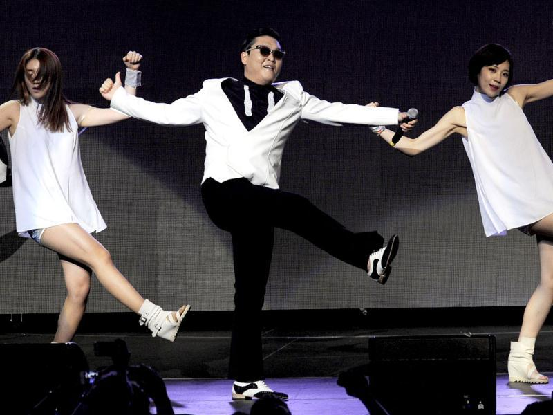 South Korean rap sensation PSY brings his Gangnam Style to Los Angeles as he performs at KIIS FM's Jingle Ball concert. (AP)