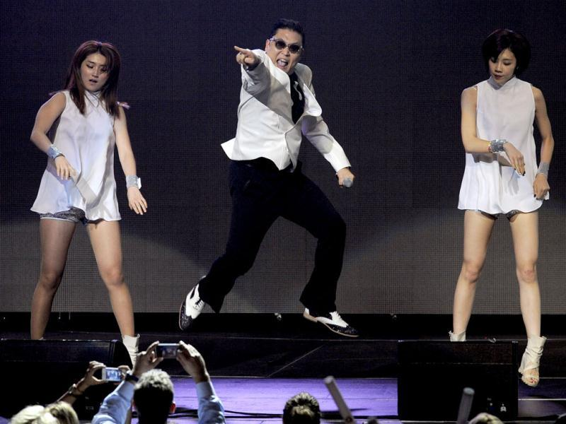 Gangnam star Psy performs during the second night of KIIS FM's Jingle Ball at Nokia Theatre LA Live in Los Angeles. (AP)