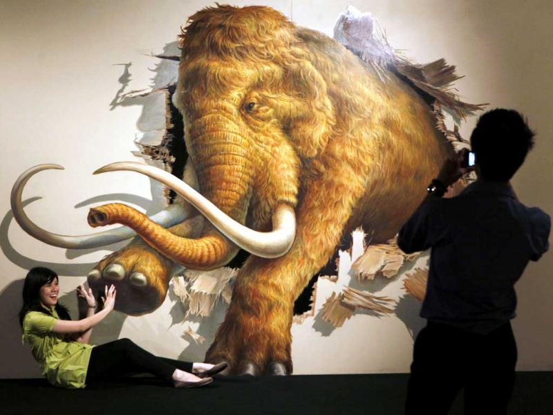 A visitor poses with a 3D art work during a Japanese Trick Art exhibition at a shopping mall in Jakarta, Indonesia. AP Photo